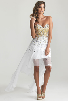 Picture of White Beaded Clifton Strapless Dress