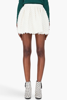Picture of Ivory Gathered Wool Skirt