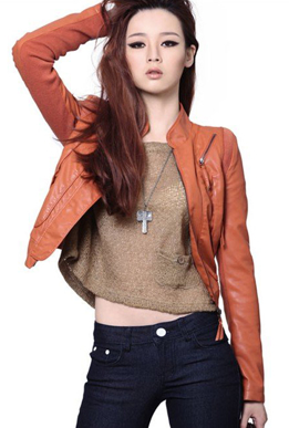 Picture of Orange Washable Leather Jacket