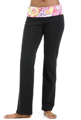 Picture of Yoga Pants Black PinkFlower Belt
